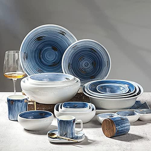 FMOGQ Platos De Cena De La Serie Creative Blue Starry Sky, Combinación Completa De Servicio De Porcelana, Apto para Microondas Y Lavavajillas, Servicio para 6