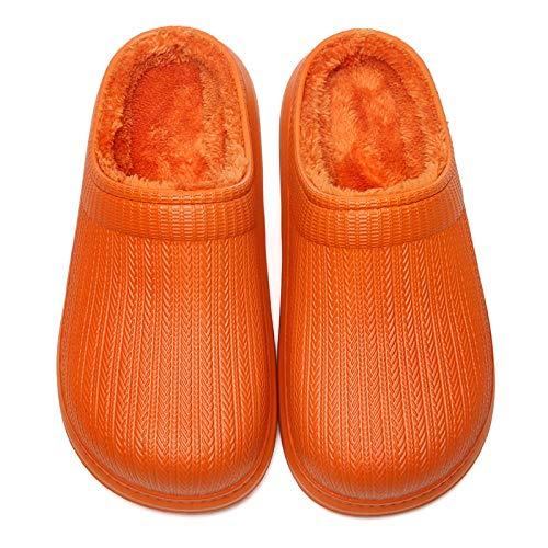 Zapatillas de hombre para mujer, suaves, impermeables, para interiores y jóvenes, de algodón, para casa, para invierno, color naranja, 39