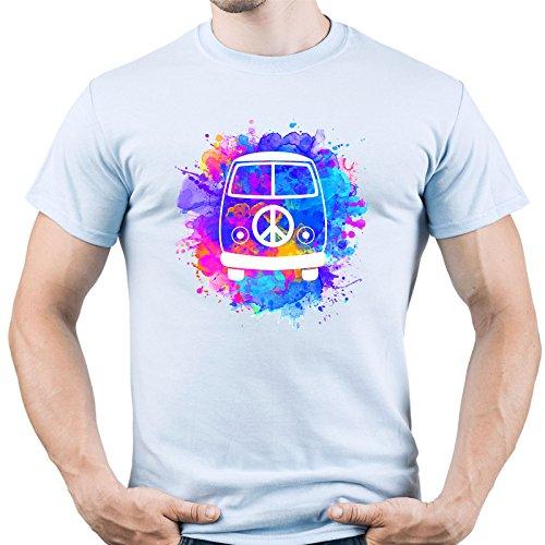 EUGINE DREAM Hippie Van Peace Sign Camiseta para Hombre