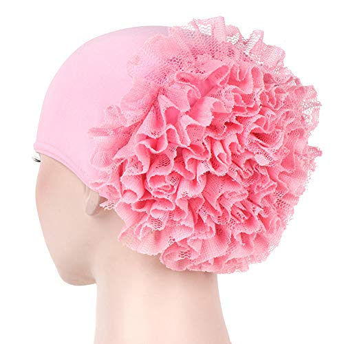 Afco Women Girl Solid Color Lace Flower Muslim Hijab Turban Head Scarf Cap Hat