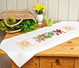 Kamaca Kit de punto de cruz para mantel con diseño de naturaleza, con plantilla de bordado, de algodón, para coser uno mismo, 40 x 100 cm, camino de mesa