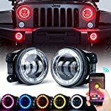 Xprite 4' inch LED Bluetooth Controlled Fog Lights w/ RGB Halo Angel Ring for 2007-2018 Jeep Wrangler JK, 60W CREE LED Chip