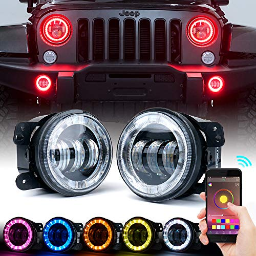 """Xprite 4"""" inch LED Bluetooth Controlled Fog Lights w/ RGB Halo Angel Ring Compatible with 2007-2018 Jeep Wrangler JK, 60W CREE LED Chip"""