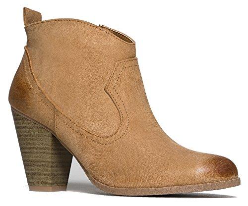 ZooShoo Western Slip On Stacked Heel Bootie - Distressed Ankle Pull Cowboy Women's Boot