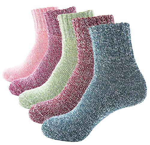 Macochoi Womens Retro Warm Athletics Ankle Socks for Women Plats Thick Novelty Christmas Cotton Knitting Wool Warm Winter Fall Crew Socks Winter Autumn Spring Soft Fuzzy Slipper Home Socks AMB001-B