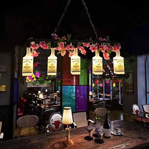 LAMP Pendelleuchten, Kronleuchter Retro Industrial Style Kirschblüte Flasche Pendelleuchte, Deckenleuchte für Wohnzimmer Schlafzimmer Restaurant Bar Cafe Led Warmes Licht