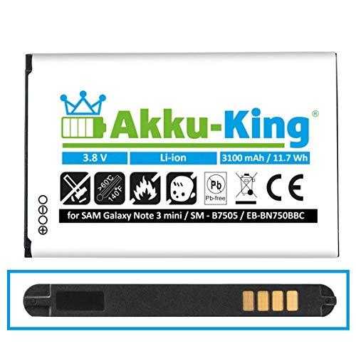 Akku-King Akku kompatibel mit Samsung EB-BN750BBC - Li-Ion 3100mAh - für Galaxy Note 3 Neo 3G SM-N750, Duos SM-N7502, LTE SM-N7505, SM-N7506V, SM-N7507