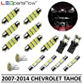 LEDpartsNow Interior LED Lights Replacement for 2007-2014 Chevy Tahoe and Suburban Accessories Package Kit (15 Bulbs), WHITE