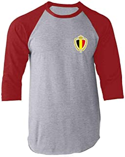 Belgium Soccer Retro National Team Sports Football Raglan Baseball Tee Shirt
