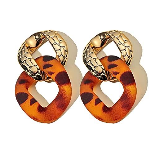 FEIHUI Pendientes Niña Hipoalergenicos,Retro Hueco Geométrico Acrílico Estampado De Leopardo Moda Hipoalergénico Pendientes De Gota Exquisita Gota para El Oído Colgando Joyería Colgante para Mujere