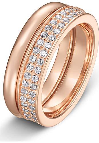 JETTE Silver Damen-Damenring 925er Silber 53 Rosé 32010181