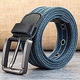 VITML Cinturón De Lona Unisex Hebilla De Aleación Pin Lavado con Cinturón De Lona Tejida para Hombre...