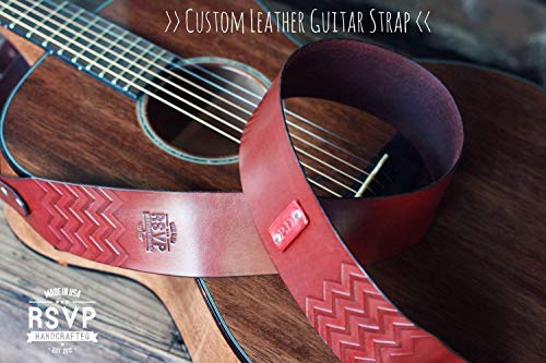 Custom Leather Guitar Strap, Acoustic, Electric, Bass, Dobro, Banjo, Adjustable, Chevron, Handmade personalized gift. Customize name, initials