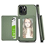 Compatibal with iphone 13 Pro Max Wallet Leather Case 5G with Credit Card Holder [Woven Textured Leather] Soft Slim Case with Flip Slots Magnetic Shockpoorf Kickstand Protective Cover 6.7 Inch - Green