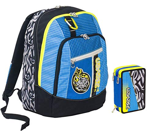 Advanced Seven School Backpack - Tribal Boy + Case - Removable Carabiner - Blue - 30 LT - Reflective Inserts