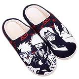 DFGGE Zapatillas de Estar por casa para Mujer Hombre Naruto Uzumaki Naruto Hatake Kakashi Invierno cómodo y Antideslizante Interior Zapatillas de casa,42/44 EU