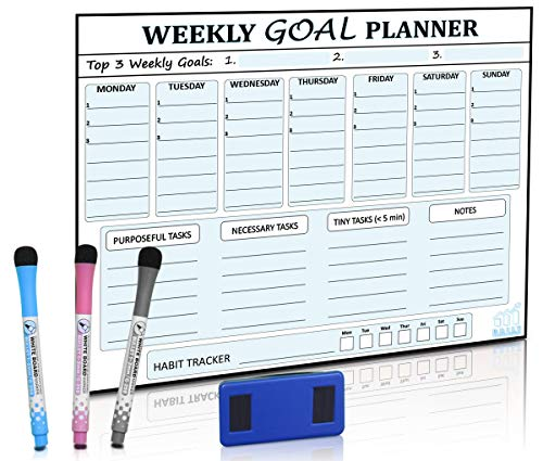 Magnetic Goal Board and Weekly Dry-Erase Calendar for Fridge - Daily Habit Tracker, Planner & Productivity Enhancer - Stain Resistant - Plus Free E-Book -WhiteBoard Organizer