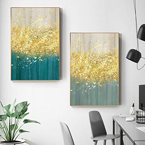ganlanshu Nordische einfache abstrakte Malerei Wandbild Wohnzimmer Wohnkultur Malerei Kunst,Rahmenlose Malerei,40X60cmx2