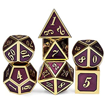 Table Game Metal Dice Set 7PCS D&D Metal Die with Metal Gift Box for Tabletop Games Dungeons and Dragons Dice  Dark Purple and Gold Number