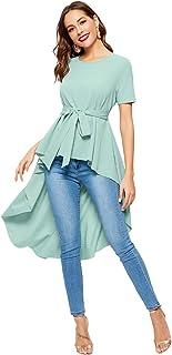16636f29e646bb Romwe Women s Irregular Hem Short Sleeve Belted Flare Peplum Ruffle Blouse  Shirts Top
