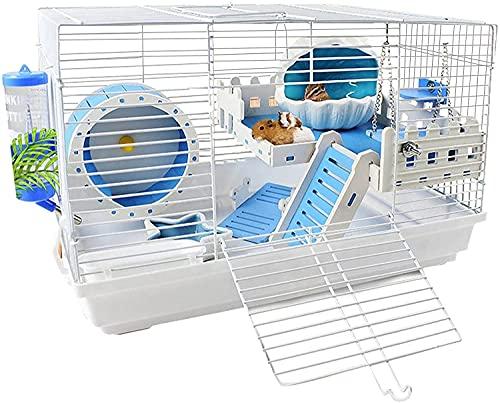 LITINGT Casa para Animales pequeños, Jaula para Conejillos de Indias Plegable de Dos Niveles, Jaula para Animales pequeños con Accesorios, casa para Conejillos de Indias y Animales pequeños, 47 * 30