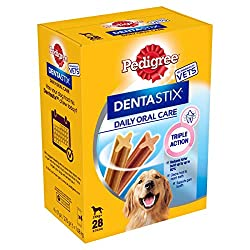 Make sure your canines teeth and gums are clean and healthy with Pedigree Dentastix, the daily dental treat which helps build strong teeth and gums Designed for your large four-legged friend, packed with dog-friendly ingredients and a better taste th...