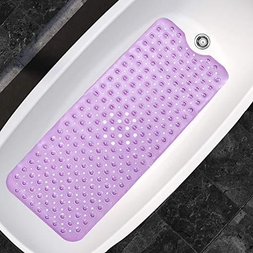 Badematte - Antirutsch Badewannenmatte mit 200 Saugnäpfen und 176 Ablauflöchern - (101.3 cm x 39.7 cm) Lang Rutschfest Badewanne Matte - Antirutschmatte Duschmatte - Badewanneneinlage (Lila)