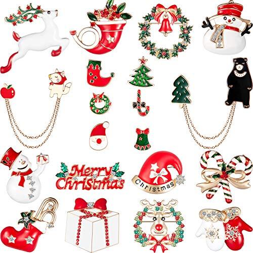 20 Pieces Enamel Christmas Brooch Pins Cute Enamel Lapel Pin Set Cartoon Brooch Pin Badges Brooch Pins for Clothing Bags Jackets Accessory DIY Crafts