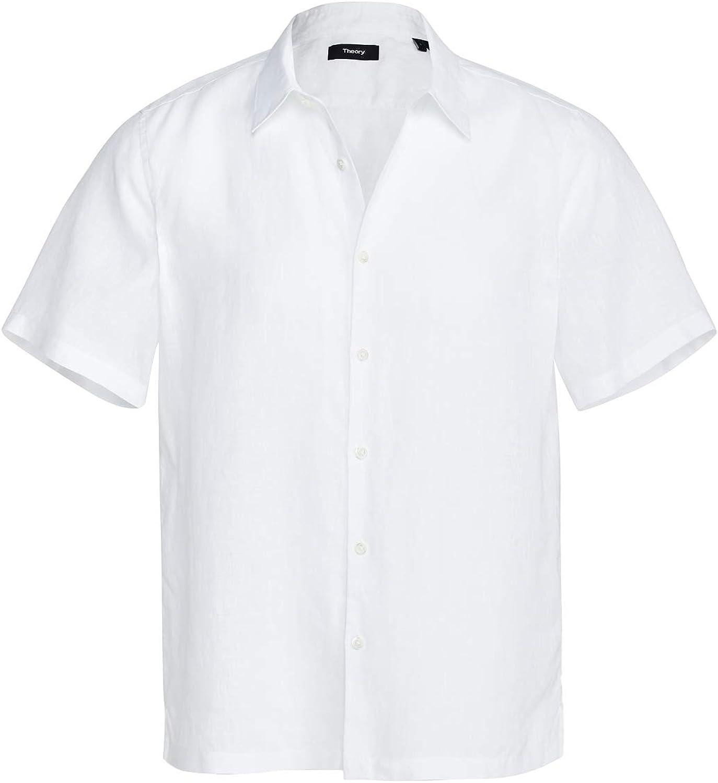 Theory Men's Irving Short Sleeve Linen Shirt