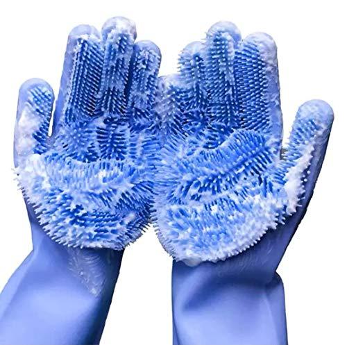 FlyHigh Premium Wiederverwendbare Spülhandschuhe aus Silikon mit integrierten Bürsten (Blau)