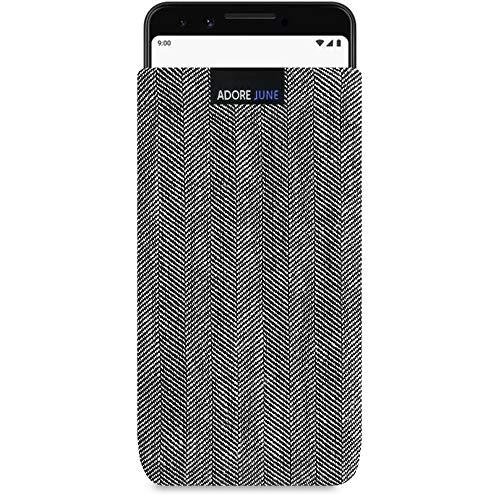 Adore June Business Tasche für Google Pixel 3 Handytasche aus charakteristischem Fischgrat Stoff - Grau/Schwarz | Schutztasche Zubehör mit Bildschirm Reinigungs-Effekt | Made in Europe