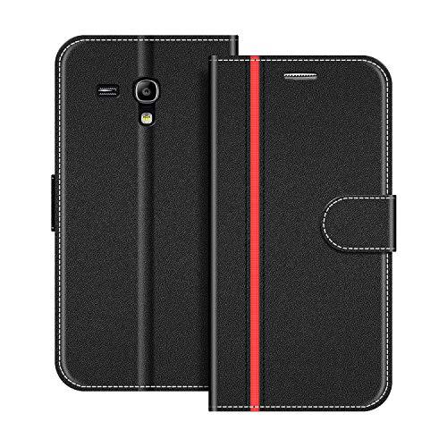COODIO Handyhülle für Samsung Galaxy S3 Mini Handy Hülle, Samsung Galaxy S3 Mini Hülle Leder Handytasche für Samsung Galaxy S3 Mini Klapphülle Tasche, Schwarz/Rot
