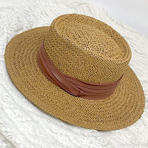 Cappello da Sole Cappello di Paglia Vintage Flat Top Fedora Uomo Donna Fascia a Nastro Cappello da Spiaggia Paglietta Uomo Donna Traspirante Cappello Estivo da Sole Cappello da SPI