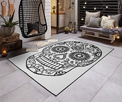 Teppich Boss In- & Outdoorteppich Flachgewebe Wendeteppich Calavera Totenkopf modern, Größe:80x150 cm, Farbe:schwarz/Creme