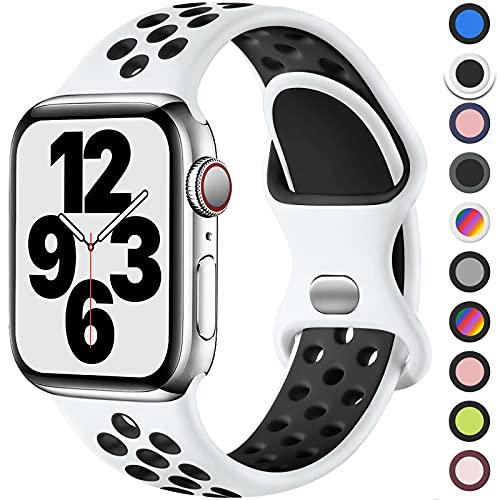 Upeak Sport Bracelet Compatible avec Bracelet Apple Watch 44mm 42mm 38mm 40mm, Sangle Boucle Double Trou en Silicone Respirant, pour iWatch Bracelet Series 6 5 4 3 2 1 Se, 42mm/44mm-M/L, Blanc/Noir