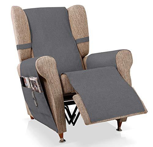JM Textil Sesselschoner Relax GEA Größe 1 Sitzer (55 cm), Farbe Blei-Grau
