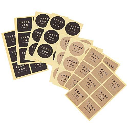 Haobase 240 Stück Kraftpapier Aufkleber Sticker Selbstklebend Vintag Geschenkaufkleber für Backen Geschenktüten Karte Briefumschlag Hochzeit Thanksgiving Weihnachten
