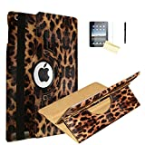 JYtrend iPad Air 2 Case, (R) Rotating Stand Smart Case Cover Magnetic Auto Wake Up/Sleep for iPad Air 2 A1566 A1567 MGLW2LL/A MH0W2LL/A MGL12LL/A MH2V2LL/A MH2W2LL/A MH2U2LL/A (Leopard)
