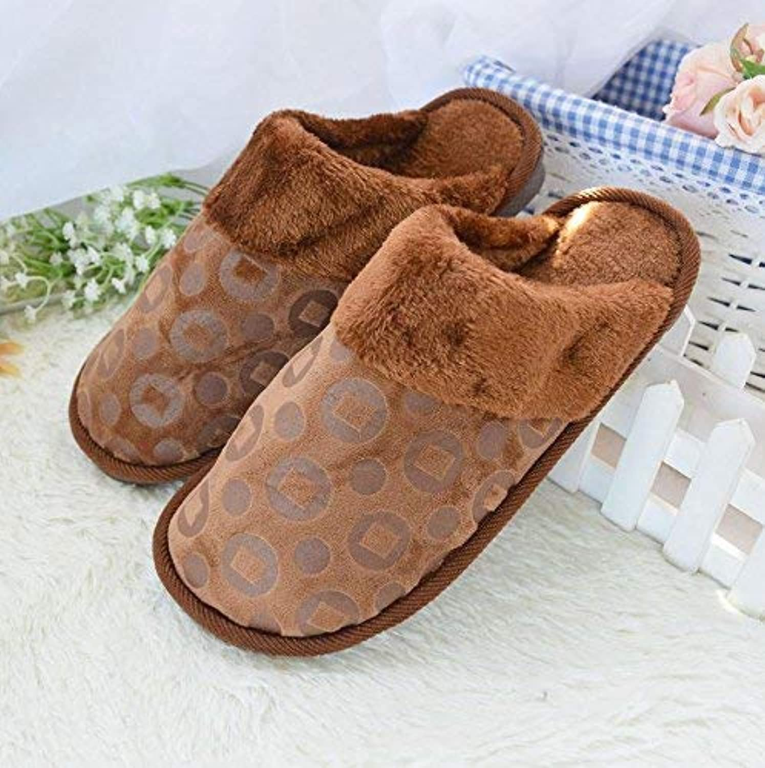 GouuoHi Men Slipper Men 's Home Cotton Slippers Indoor Keep Warm Casual Brown bluee Slippers Soild color Personality Quality for Men