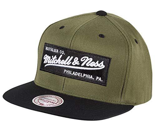 Mitchell & Ness Herren Wool Solid Kappe Olive Schwarz, Snapback