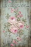 Vinilo decorativo para muebles de madera, diseño vintage con flores pintadas en rosa