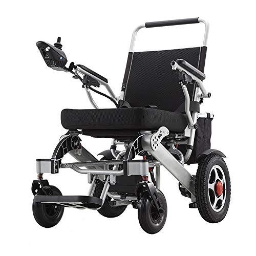 RDJM Ultraleichter Faltbarer Elektrischer Rollstuhl mit Polymer Li-Ion Battery 20Ah, für ältere und behinderte Menschen,Silber