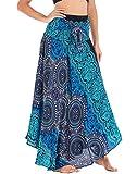 FEOYA Femme Robe Danse du Ventre 2 en 1 Jupe Longue Trapèze Bohème Casual Robe de Plage Vacances Motif Coloré Jupe Longue Volants Bleu Vert