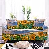 Fundas de sofá de girasol para plantas, suave elastano, elástico, lavable a máquina, fundas de sofá modernas, universales gruesas, antideslizantes, protectores de sofá de mascotas de 4 plazas