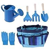 Cabilock 6 herramientas de jardín para niños, incluye bolsa resistente, regadera, guantes, palas, herramientas de jardín para niños.