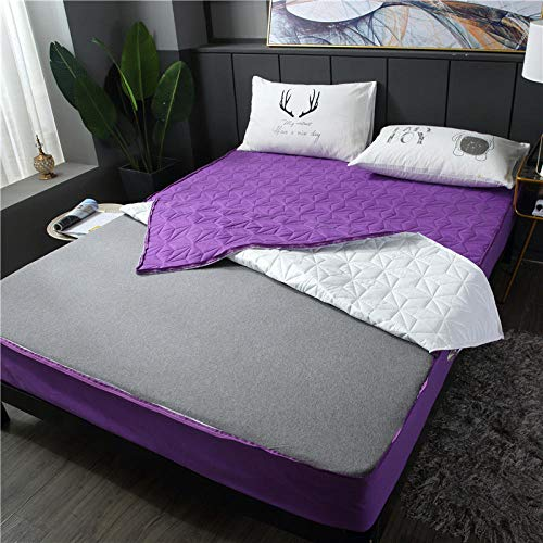 lhmlyl Mattress Protector Doublepadded Cotton Sanding Full Surrounded By Waterproof Bed Sheet Single Piece Solid Color Breathable Removable Zipper Thickening Urine Bed Sheet-Purple_120*200 High 15