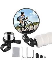 Zacro Fietsspiegel + fietsbel, 360° verstelbare fietsspiegel, achteruitkijkspiegel voor mountainbikes, racefietsen (1 stuk), met fietsbel (zilver) voor volwassenen en kinderen
