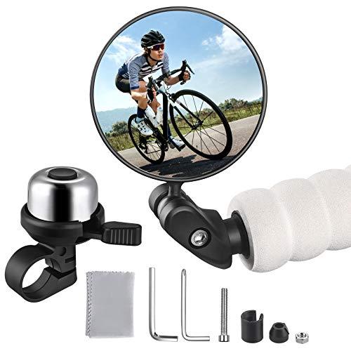 Zacro Fahrradspiegel + Fahrradglocke, 360°Verstellbar Fahrradspiegel Rückspiegel für Mountainbikes Rennräder (1 STÜCK), mit Fahrradklingel(Silber) für Erwachsene und Kinder