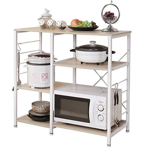 DlandHome 35.4 inches Microwave Cart Stand Kitchen Utility Storage 3-Tier for Baker's Rack & Spice Rack Organizer Workstation Shelf, Maple
