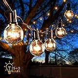 Guirnalda de luces LED para exteriores de 66 m, G40, luces de cadena para patios, resistentes al agua, para el día de San Valentín, bodas, fiestas, habitaciones, terrenos, gazebos, porches, etc.